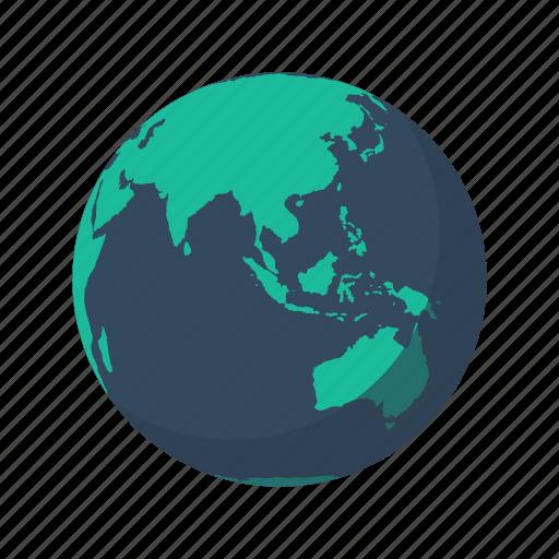 asia, australia, earth, globe, indian, mainland, planet icon