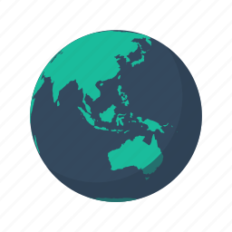 asia, australia, earth, globe, island, mainland, planet icon