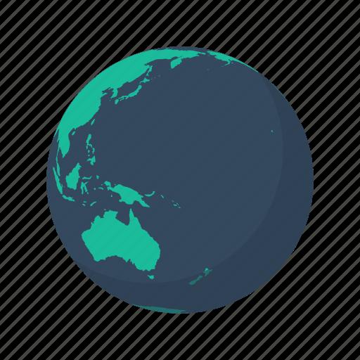 australia, earth, globe, island, ocean, pacific, planet icon