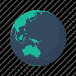 australia, earth, globe, island, pacific, planet, sea icon