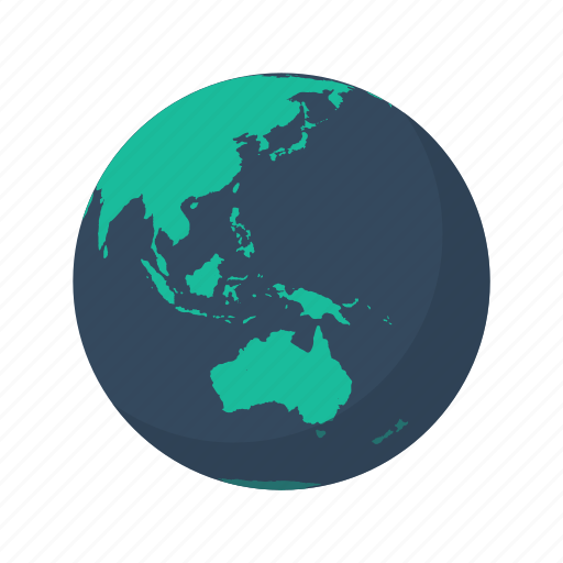 australia, earth, globe, island, ocean, planet, sea icon