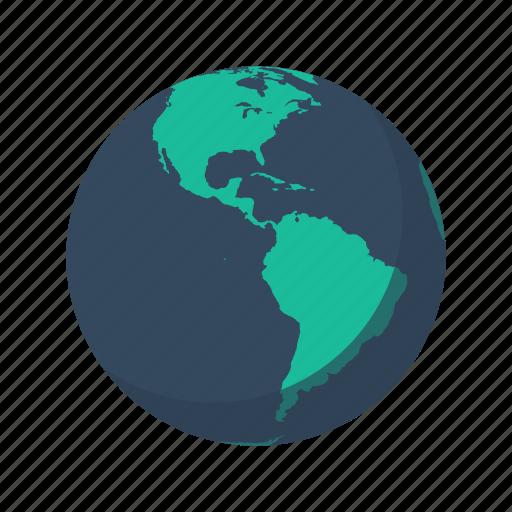 america, antarctica, earth, globe, north, planet, sea icon