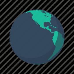 america, earth, globe, north, planet, sea, south icon