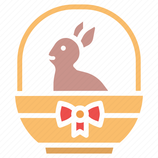 basket, bow, bunny, easter, gift, rabbit, ribbon icon