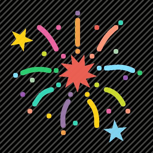 bang, boom, celebration, festival, fireworks, new year, stars icon
