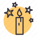 candle, christmas, easter, lamp, light, stars icon