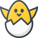 broken, chicken, egg icon