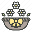 basket, decorations, easter, flower, spring icon