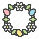 christianity, decoration, easter, easter eggs, egg, flower, wreath icon