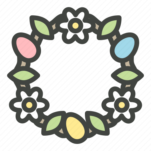 christianity, decoration, easter, easter eggs, egg, flower, wreath icon