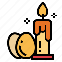 candle, eggs, fire, light icon
