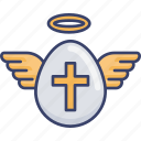 angel, cross, easter, egg, halo, wing icon