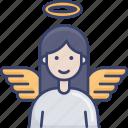 angel, avatar, female, halo, spritual, wing, woman icon