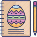 book, easter, egg, notebook, pencil, sketchbook icon