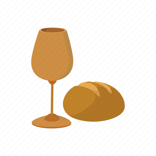 bread, cartoon, christianity, communion, easter, religion, wine icon