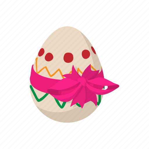bow, cartoon, decoration, easter, egg, holiday, pink icon