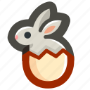 bunny, easter, egg, eggshell, rabbit, shell icon