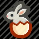 bunny, easter, egg, eggshell, rabbit, shell icon