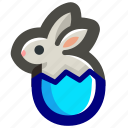 blue, bunny, easter, egg, eggshell, rabbit, shell icon