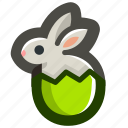 bunny, easter, egg, eggshell, green, rabbit, shell icon