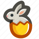 bunny, easter, egg, eggshell, rabbit, shell, yellow icon