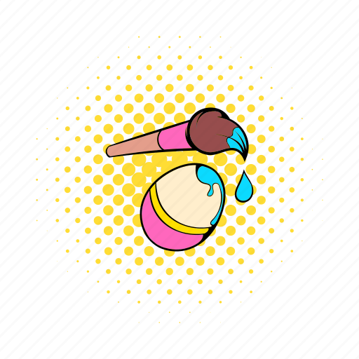 brush, colorful, comics, easter, egg, paint, spring icon