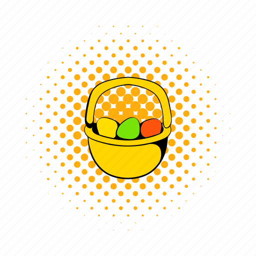 basket, celebration, comics, easter, egg, holiday, spring icon