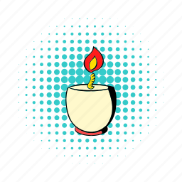 candle, comics, decoration, fire, flame, light, wax icon