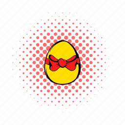 bow, comics, decoration, easter, egg, holiday, pink icon