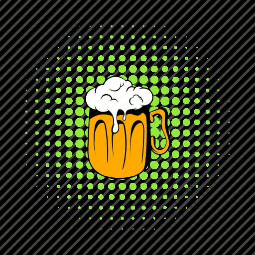 alcohol, beer, comics, drink, froth, glass, mug icon