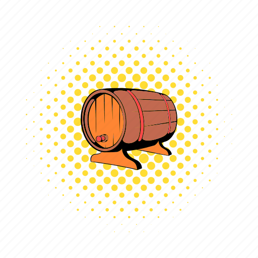 alcohol, barrel, beer, comics, old, wood, wooden icon