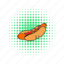 bun, comics, grilled, hotdog, meat, mustard, sausage icon