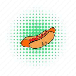 bun, comics, grilled, hotdog, meat, mustard, sausage icon
