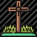 cementery, cemetery, cross, fear, grave, graveyard, rip icon
