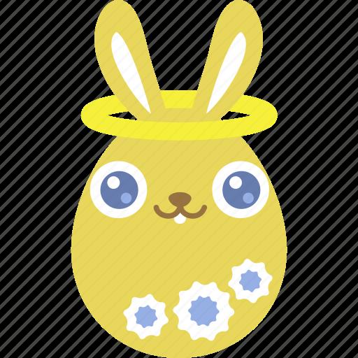 angel, bunny, easter, egg, emoji, emotion, rabbit icon