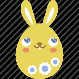 blush, bunny, easter, egg, emoji, emotion, rabbit icon