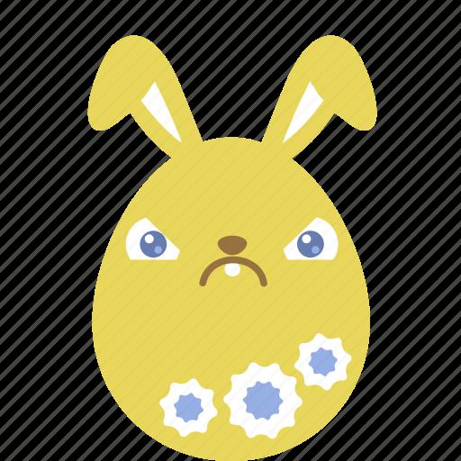 bunny, crabby, easter, egg, emoji, emotion, rabbit icon