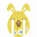 bunny, cry, easter, egg, emoji, emotion, rabbit icon