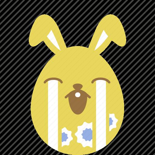 bunny, cry, easter, egg, emoji, emotion, rabbit icon