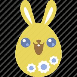 bunny, cute, easter, egg, emoji, emotion, rabbit icon