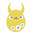 bunny, demon, easter, egg, emoji, emotion, rabbit icon