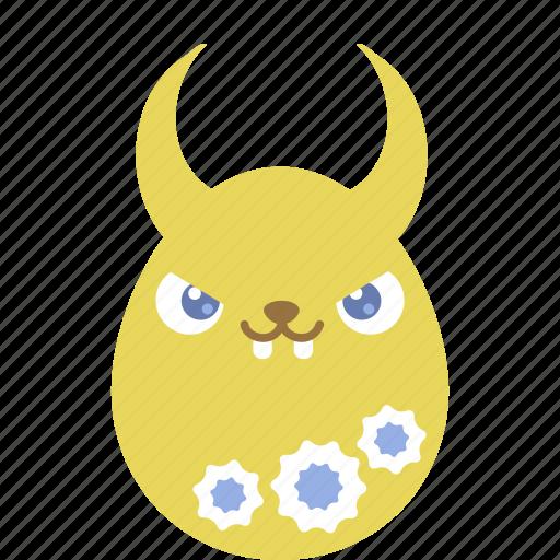 bunny, demon, easter, egg, emoji, emotion, rabbit icon