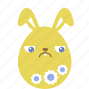 bunny, easter, egg, emoji, emotion, guilty, rabbit icon