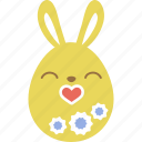 bunny, easter, egg, emoji, emotion, kiss, rabbit icon