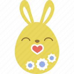 bunny, easter, egg, emoji, emotion, kiss, rabbit icon