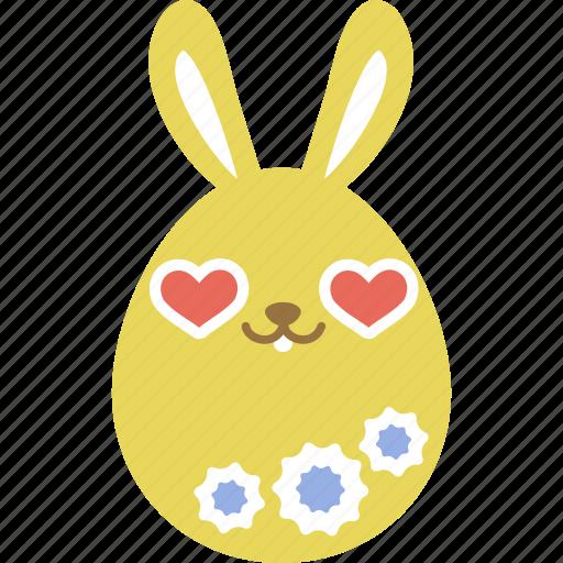 bunny, easter, egg, emoji, emotion, love, rabbit icon