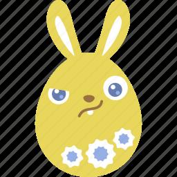 bunny, easter, egg, emoji, emotion, rabbit, wary icon