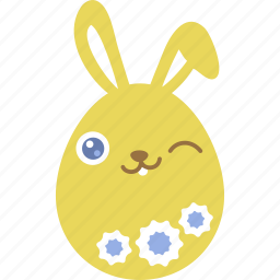 bunny, easter, egg, emoji, emotion, rabbit, wink icon