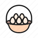 basket, breakfast, easter, eggs, eggs basket, eggs tray icon