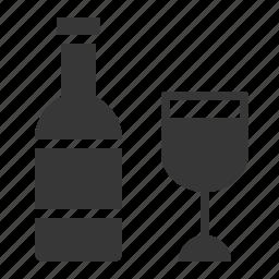 beverage, bottle, celebration, drink, glass, holiday, wine icon